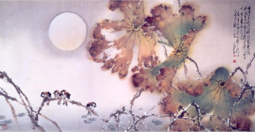 Moonlight over the Pond, Chao Shao-an, 1969, horizontal scroll, ink and color on paper.