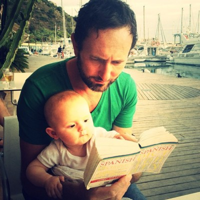 Little LuLa teaching her #dad @bigfatsarnie #Spanish haha  (Taken with Instagram)