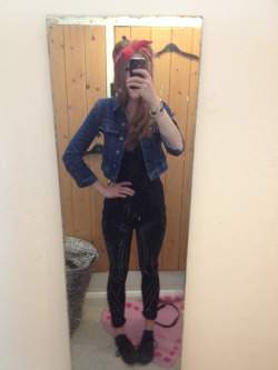 Desire clothing trousers, primary tip, vintage denim jacket and Sally's bandana