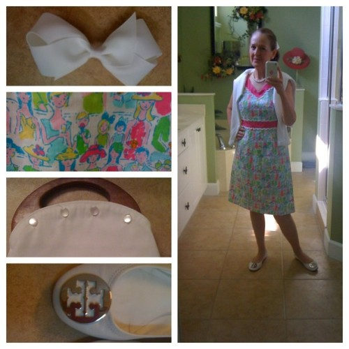 Church OOTD:  #LillyPulitzer #bowmania #Revas #bermudabag #pearls #Derngcross #giddyup #cardi Last day to wear white until Easter! #whatiwore  (Taken with Instagram)