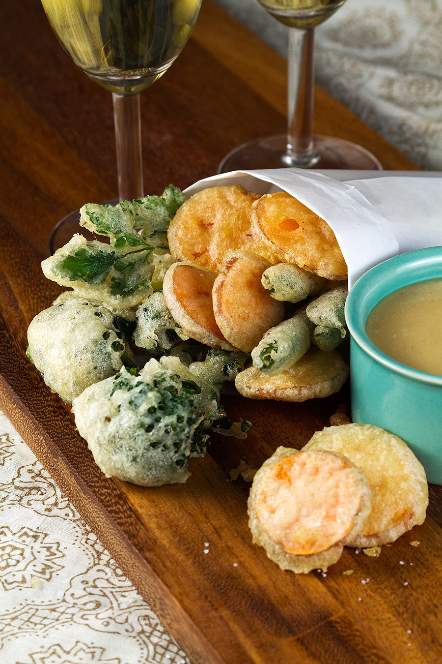 Crisp Tempura Vegetables with Miso-Mustard