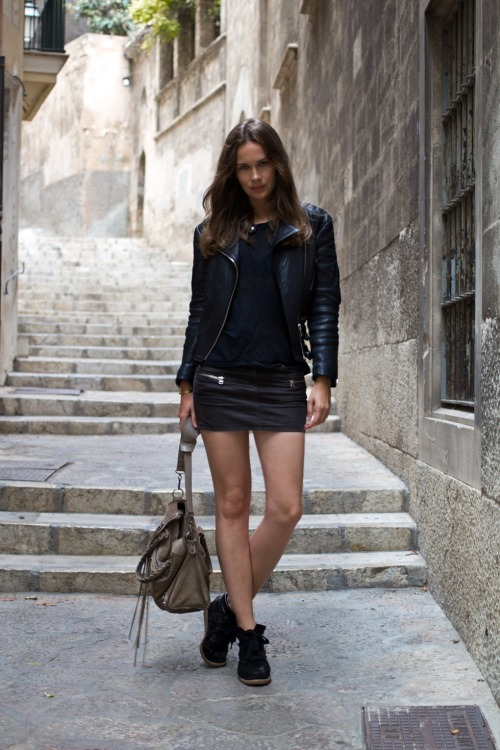 Isabel Marant skirt and shoes, ACNE tee, Rika jacket and Balenciaga bag [source: stockholm streetstyle]