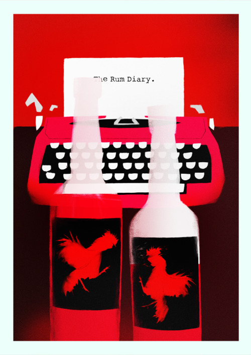 Spotted on minimalmovieposters:  The Rum Diary by Rocco Malatesta  the poster shows the red IBM Selectric, owned by Hunter S. Thompson.