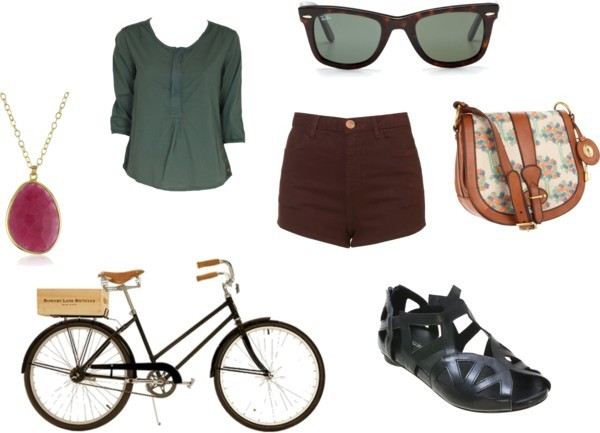 for riding my bike to school by schamberlin featuring ray-ban eyewearMaison Scotch cotton tunic, $82 / High waisted short shorts / Flat shoes / FOSSIL vintage shoulder bag / Long pendant necklace / Ray-Ban  eyewear