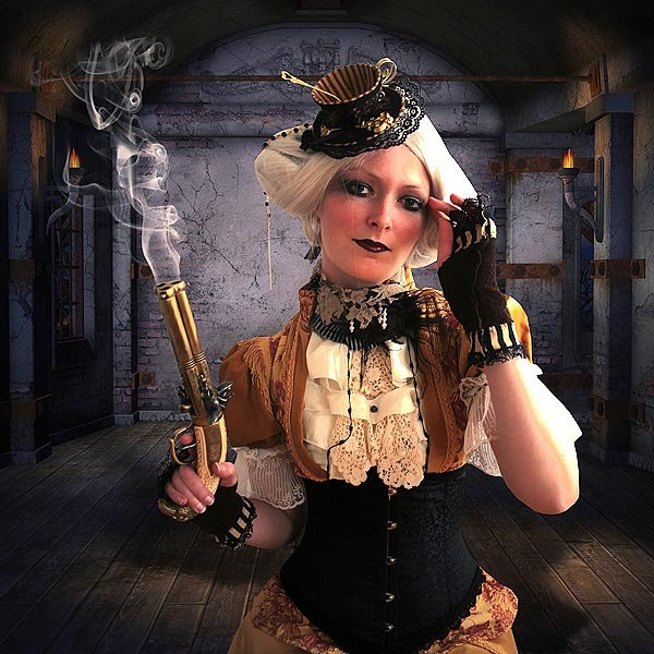 "STEAMPUNK ""She did it officer, her there with the smoking gun and the teacup on her head"" Found HERE"