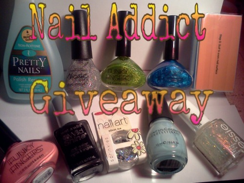 Nail Addict is celebrating having 100 followers on her blog, now it's already at 200! She's hosting an awesome giveaway with lots of nail goodies ^_^ Here's the list: Funky Fingers: Taffy Town, Pixy Dust and Mirror, Mirror Essie in Shine of the Times Nicole by OPI in Make a Comet-ment Wet n Wild in Black Creme Sinful Color in Cinderella Nail Polish Remover Sally Hansen: 4 Sided Nail Buffer Art Club: Silver Ice Kiss Nail Dress Stickers in Sexy & Shrug  Since I only found out about this a few minutes ago I wanted to share it as soon as I can because it ends in less than 12 hours. So hurry and go to this LINK fill out the Rafflecopter form to get 35 chances of winning ^_^ There's something fun about this giveaway, there's a hidden entry code that if you guessed right you can get 10 entries! I'm not sure if I guessed right though, lol. Good luck to us! :)