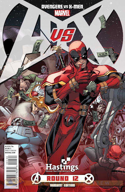 k3vbomb:  Hastings Deadpool Variant Cover to AvX #12!
