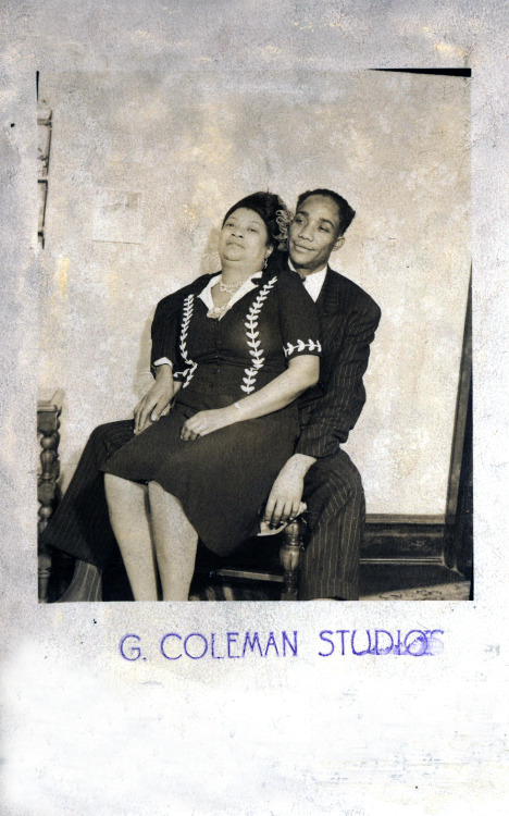 "The back reads:  ""Honey, I went to the levy store with him."" G. Coleman Studio Portrait, 1940's ©WaheedPhotoArchive, 2012"