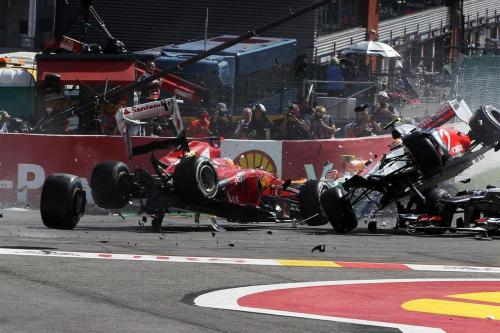 Fernando alonso and Lewis Hamilton involved in a huge accident at the start of the 2012 Belgian GP. Lotus' Romain Grosjean was given a one race penalty for causing this incident.