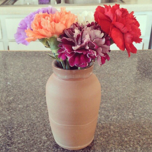 Purdy flowers in a vase made by @MarkerPark. (Taken with Instagram)