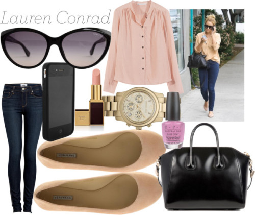 Lauren Conrad by emsaxx featuring flatsHope long sleeve shirt, $200 / Paige Denim high waisted jeans / Vera Wang Lavender Label flat / Givenchy leather handbag, $1,800 / Michael Kors  watch / Tom Ford wayfarer sunglasses, $310 / Marc by Marc Jacobs tech accessory, $48 / Tom Ford  lipstick / OPI  nail polish, $17