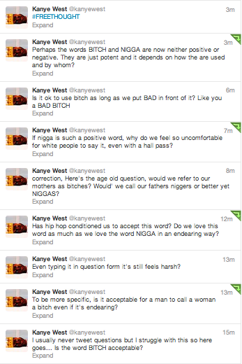 Every so often, Kanye blows up my timeline on twitter, and it's always amazing.