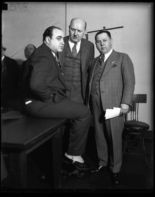 diebymisadventure:  Al Capone, Assistant State Attorney Frank Mast and Bailiff Joe Weinberg in a Chicago Federal Building courtroom - April 4, 1931