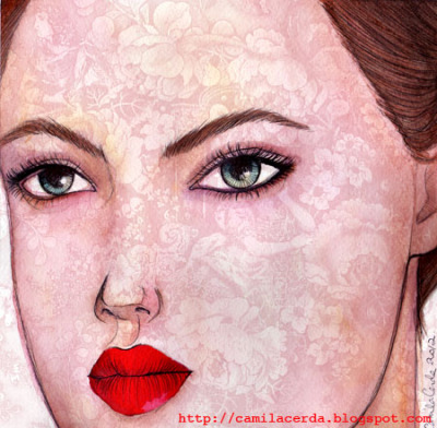 *Red Lips* Portrait of Lindsey Wixson Watercolor, ink pen, digital edition Illustration by Camila Cerda