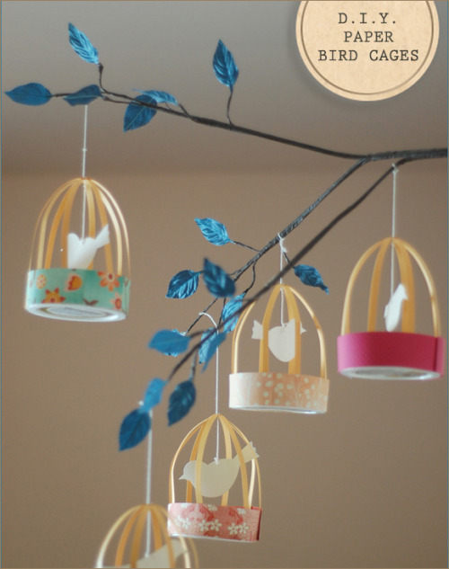 diyheartsandcrafts:  DIY Paper Bird Cages