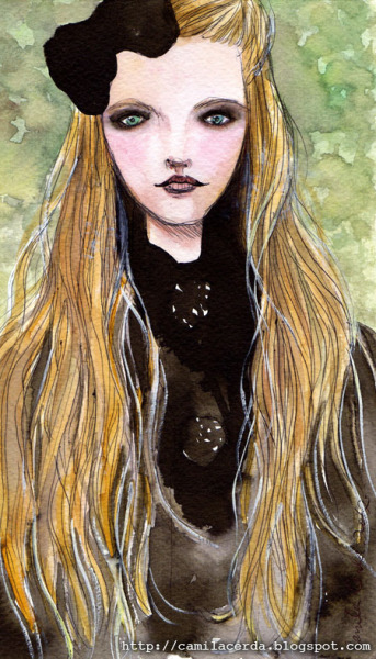 *Lolita* Portrait of Vlada Roslyakova  Watercolor, ink pen Illustration by Camila Cerda