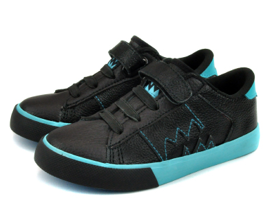 "Kids Neon Eaters sneakers now @ahmeenyc #neoneaters neon ""v"" black/blue - Durable tumbled synthetic leather upper with neon blue contrast color details. - Classic kids vulcanized Velcro shoe construction. - Faux Elastic laces and a hook and loop strap make this easy on and off for everyone. - Flexible Neon Eater's molded rubber soles. - Comfortable EVA cushioned foot bed with arch support. - Reinforced heel cup for secure fit. - Available in toddler sizes 7-10, and Youth Sizes 11-13."