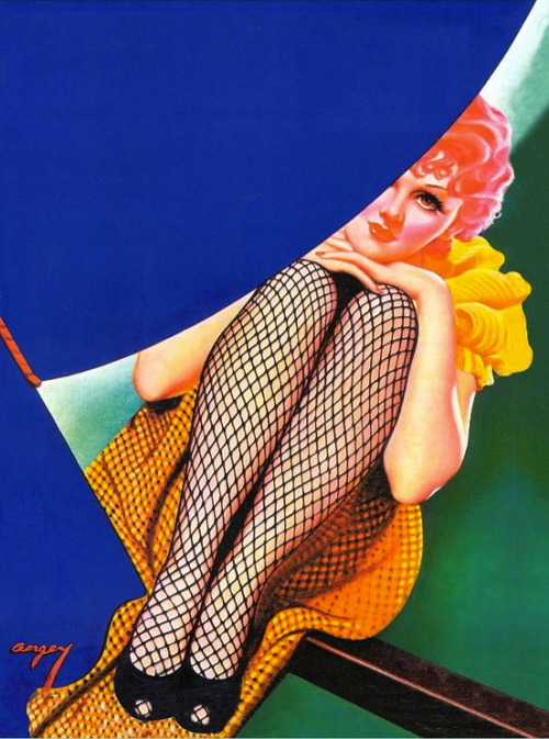 hollyhocksandtulips:  Illustration by Earle Bergey