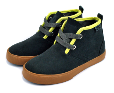 neon eaters Desert Boot now @ahmeenyc - Durable cow suede leather upper in charcoal gray colorway with lime color detail. - Classic kids vulcanized mid-top shoe construction. - Lace up style with a cotton lining and leather heel pull. - Flexible Neon Eater's molded rubber soles. - Comfortable EVA cushioned foot bed with arch support. - Reinforced heel cup for secure fit. - Available in toddler sizes 7-10, and Youth Sizes 11-13.