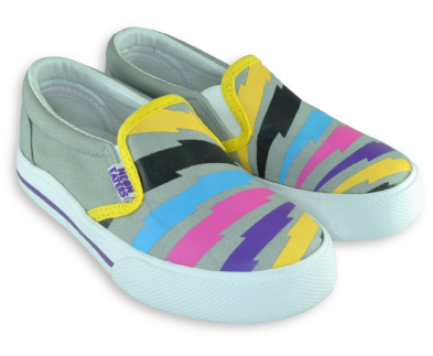 "Neon eaters sneakers for girls Slip ons @ahmeenyc #neoneaters  - Durable canvas upper with cool ""Bolts"" print. - Classic vulcanized slip-on construction. - Flexible rubber out sole. - Comfortable EVA foot bed with arch support. - Reinforced heel cup. - Available in toddler sizes 7-10, and Youth Sizes 11-13."