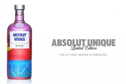 "thedailywhat:  ABSOLUT Bottle of the Day: It's tough to convince anyone that 4 million of anything can be considered ""limited"", but as it pertains to ABSOLUT Vodka's latest marketing campaign, the number rings true.  ABSOLUT Unique is a 4 million-bottle limited edition run, set for distribution in more than 80 international markets. The task required a complete overhaul of the manufacturing plant, including the installing of splash guns and programmable color-generating machines, which employ complex algorithms in order to ensure no two bottles are alike.  [highsnobiety]"