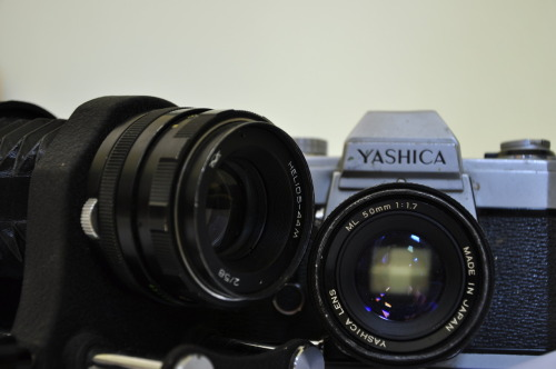 Got today these for 10Euro.  A Yashica FX-2 with a 50mm f1.7 and an M42bellows with a Helios 58mm f2, awesome(: