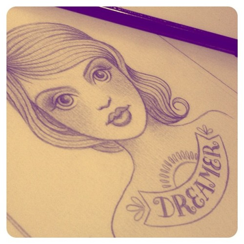 #dreamer #illustration - #pencil #sketch (last night before it got a paint wash) #art #yelley  (Taken with Instagram)