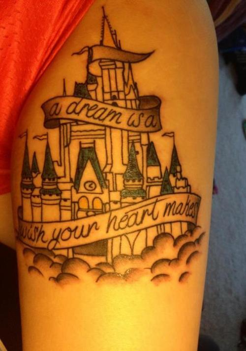 fuckyeahtattoos:  My Disney Castle tattoo. For my love and affinity of everything Disney. I got it done at Classic Electric in Frederick Maryland. The artists name is Tom. He was awesome.