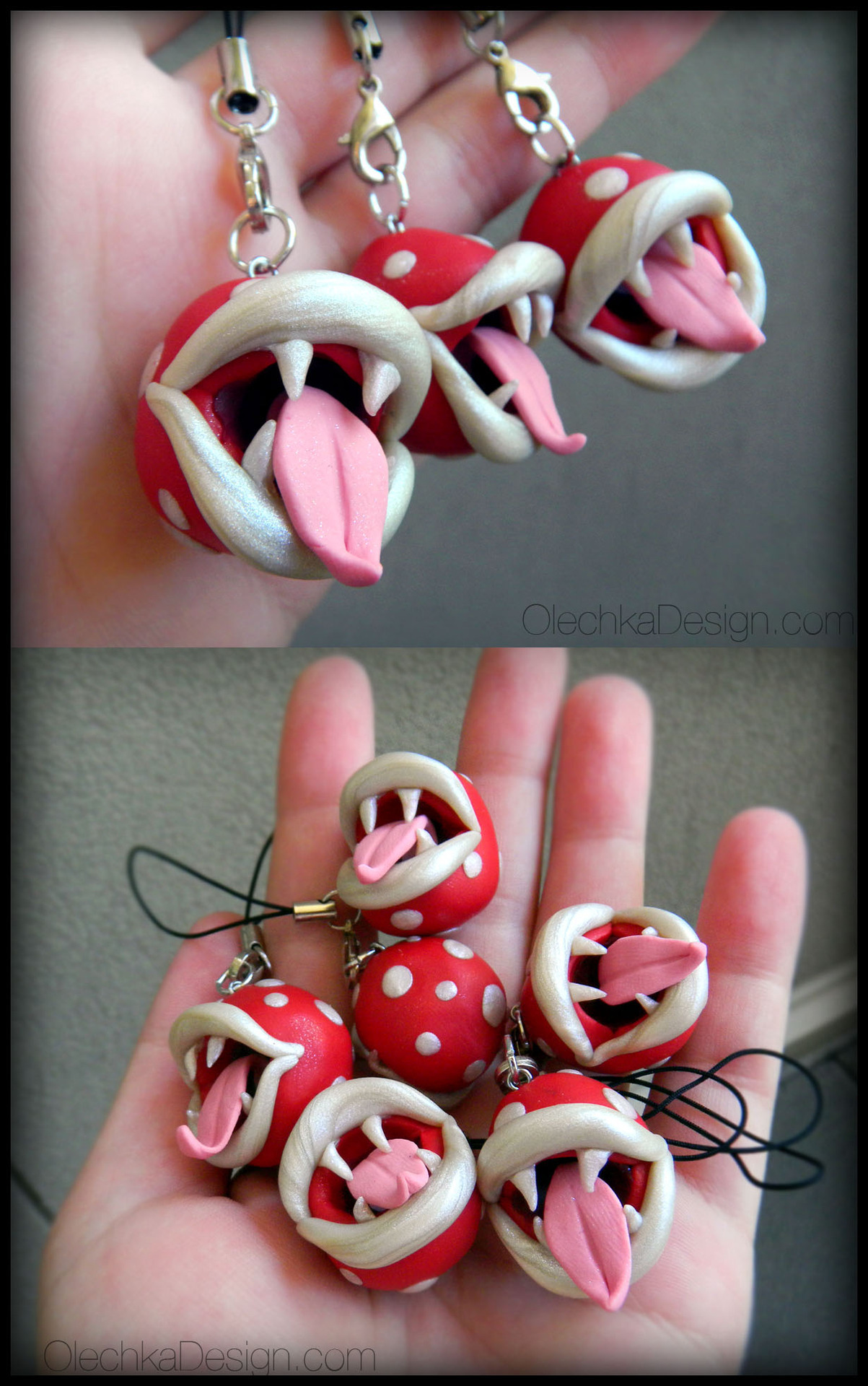 Piranha Plant charms by Olechka (Etsy, $17)