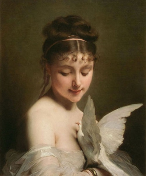 ballerina67:  Young Woman with A Dove, Charles Joshua Chaplin