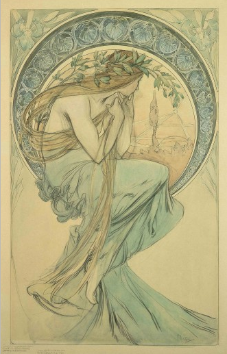 Alphonse Mucha. The Arts: study for 'Poetry' (1898)In the final lithograph the figure of Poetry wears a dress with an ornate bust.