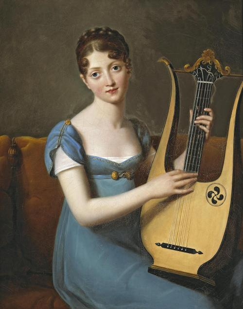 monsieurleprince:  French School, XIX century, A young lady with a lyre
