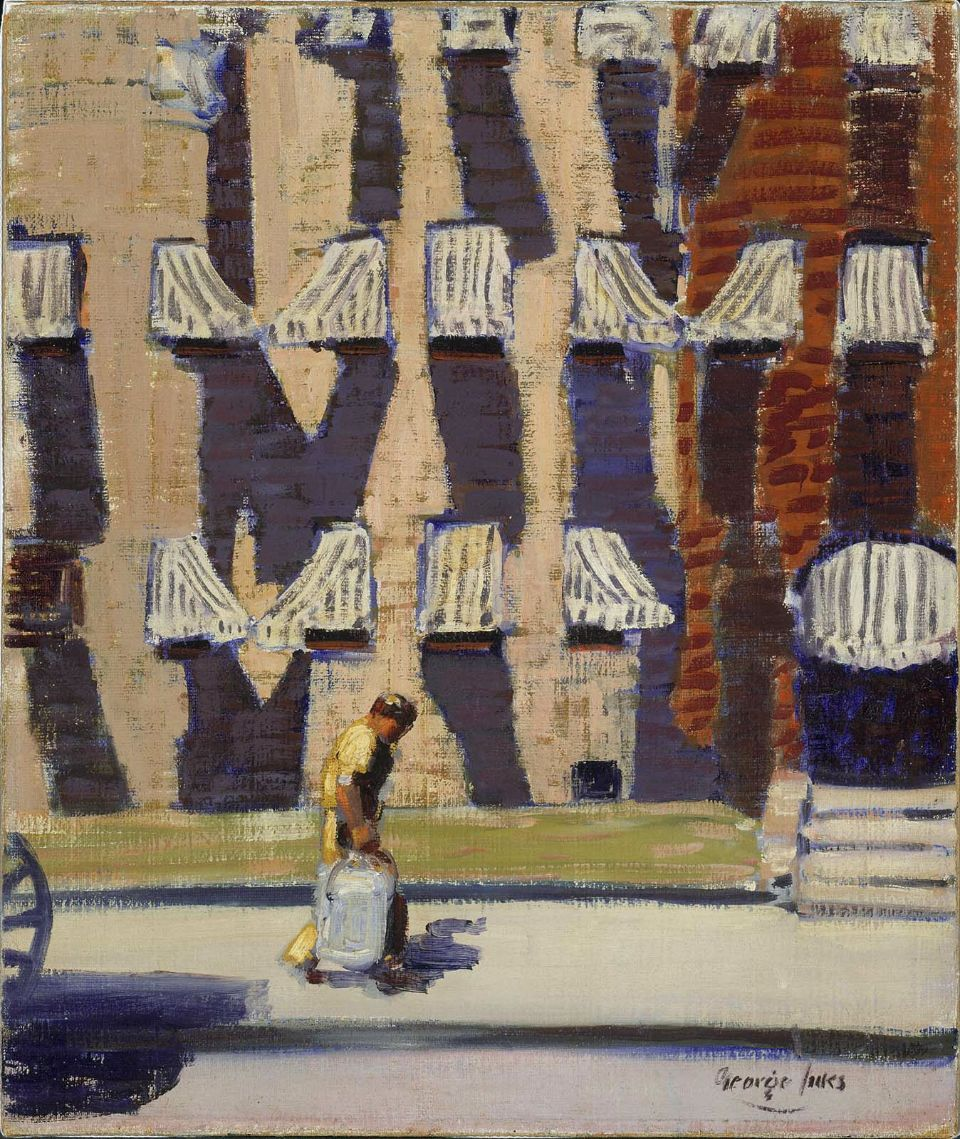 "cavetocanvas:  George Luks, Noontime, St. Botolph Street, Boston, c. 1923 From the Museum of Fine Arts, Boston:  Luks disdained the Boston painters who remained in their prim studios painting hired nude models. He exclaimed, ""Why didn't they look at Beacon Hill, Commonwealth Avenue, the Swan Boats, fruit vendors on Charles Street, the squalor of St. Botolph Street and the vigorous L. Street Brownies?"" Luks threw himself into painting these subjects in Boston. In ""Noontime, St. Botolph Street, Boston,"" he depicted the scene outside Margarett's studio at midday when the shadows cast by the awnings were very pronounced against the old-fashioned bow-front facades of the buildings. In addition to painting the striped awnings against the yellow- and red-brick facades on St. Botolph Street, Luks also included an iceman carrying a block of ice with tongs. To the left is probably a part of the ice wagon's wheel. Before refrigerators were introduced into most homes in the 1930s, food was stored in iceboxes, and blocks of ice were delivered door to door by an iceman. Luks's inclusion of this unglamorous figure was typical of the Ashcan school artists, who made working people, from longshoremen to scrubwomen, the subjects of their pictures. Luks painted a related work entitled ""St. Botolph Street,"" depicting women sitting on their stoops socializing on a summer's evening."