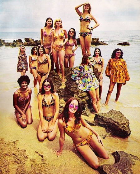 Models in bikinis and beachwear for Bobbie Brooks, Baha, Mexico, March 1973