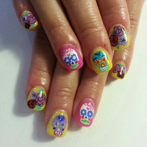Awesome. Day of The Dead nails!