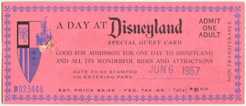 reactivating:  1957 Disney Land ticket