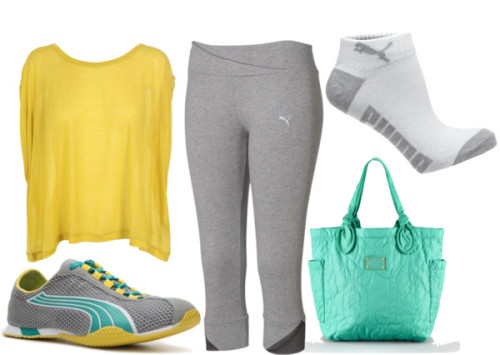 Gym Outfit by laurenew29 featuring puma shoes ❤ liked on PolyvoreSurface To Air short sleeve shirt, $63 / Puma capri pants / Puma / Puma  shoes / Marc by Marc Jacobs marc jacobs handbag