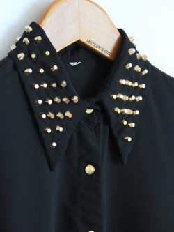 Shop at Mickey's Girl -> MickeysGirl.com Studded Collar Black Chiffon Long Sleeve $41