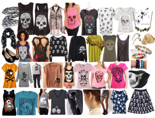 "allergictostuff:  Style Steal: Skulls Looking for styles similar to what you saw in allkpop's Trend Alert: Skulls? Click here and check the sidebar for similar styles that'll cost you less than $50!  I know that most of the styles seem to be marketed to women, but I tried to include a lot of gender-neutral looking styles.  If you like it, who cares which department it came from, right? A few of my favorites: This skirt has the same skull pattern that B.A.P has been wearing in their ""Crash"" comeback- less than $40 at Romwe, but going fast!:  This bracelet looks exactly like the one Hyunseong from Boyfriend was wearing in the article, and it costs less that $6  I could totally see the guys of B2ST wearing this shirt!  At about $45, it's a little expensive for my taste, but still cool.  I've seen Zinni from GLAM and Ren from NU'EST wear shirts like this, and this one costs less than $25!  Be sure to check out the rest of my picks here and tell me what you think! ——- Catch my music reviews, op-eds, and weekly trend alerts on allkpop :)"