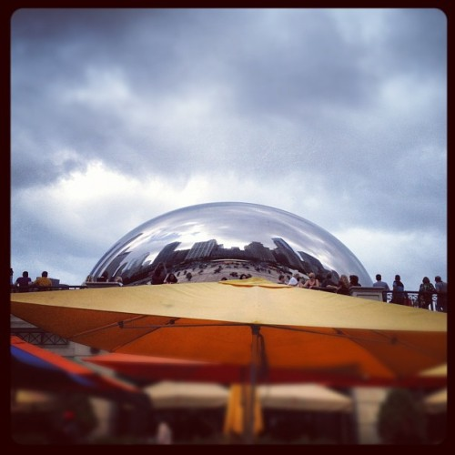 #CloudGate on the horizon. #chicago #thebean #sculpture  (Taken with Instagram at The Plaza At Park Grill)