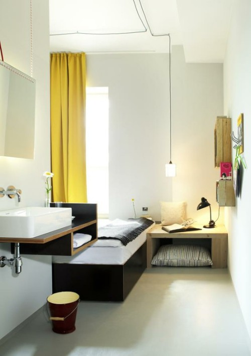 all-in-one hotel room (via  A New Designer Budget Hotel in Berlin » CONTEMPORIST)