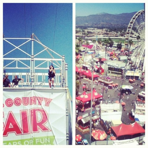 Went zip lining at the LA County Fair yesterday! It was so fun/nerve wracking at the same time 😰 Got to eat lots of fried food and ride a ferris wheel for the first time! I had a really great day yesterday 😊 #losangeles #ziplining #whatadaredeviliam 😏 #lacountyfair #ferriswheel (Taken with Instagram)
