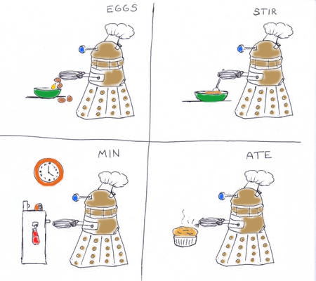 doctorwho:  Eggs. Stir. Min. Ate. akasealion:  I was working on my commission… and then this happened.