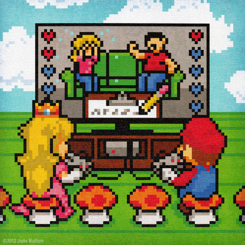 Artist Jude Buffum created a humorous piece showing Mario and Princess as they duke it out over an intense game of Couples Counseling. Jude displayed this painting at the Fangamer VERSUS Attractmode show in Seattle. Related Rampages: Gaming / Film Artwork (More) Couples Counseling by Jude Buffum (Flickr) (Facebook) (Twitter)