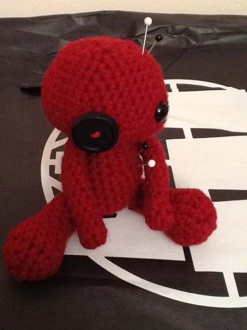 jennygurumi:  I made this voodoo doll, which looks like the more perfect ones created by Cute Designs on Etsy, for a gift.  I used this free pattern here: http://www.wonderstrange.com/wp-content/uploads/2011/10/Voodoo-Doll-An-Easy-Amigurumi-Pattern-by-AnnDAngelo.pdf Pattern modifications: Arms:  Chain 2, SC 6 in second Ch from hook.  6 SC around until arms are the desired length. Legs:  The greatest width I used was 15 SC around rather than 20.  I also added 4 additional rounds to lengthen the legs.
