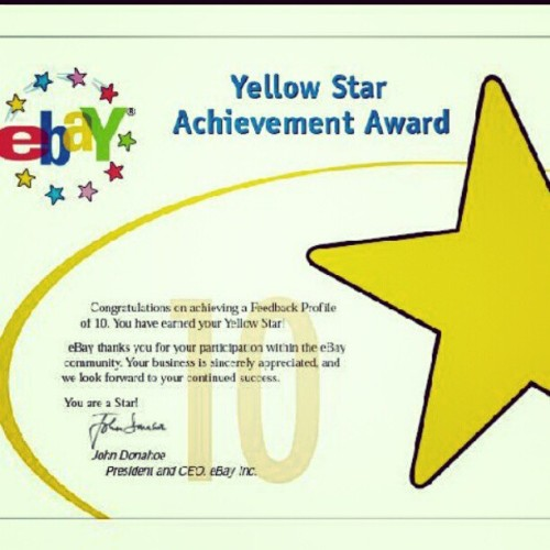 I'm a yellow star eBay. :) #eBay #online #shopping #onlineshopping #yellow #star #congratulations :) (Taken with Instagram)