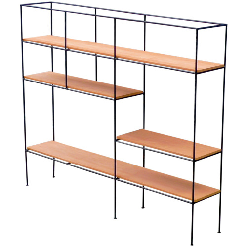 Muriel Coleman Room Divider Shelving for Pacifica 1952  Rare and inventive shelving/room-divider by Coleman designed in 1952 is an iconic example of California design. Coleman, a member of the Pacifica Group based in California, is the only designer to utilize re-bar; she does so here with the finesse of a minimalist sensitive to materials and their potential to organize a design concept. See Nelson Casegoods published 1952. Also see Pacifica catalogs and various period issues of Interiors.