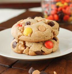 oohhhbaby:  colossal reeses pieces chocolate chip cookies