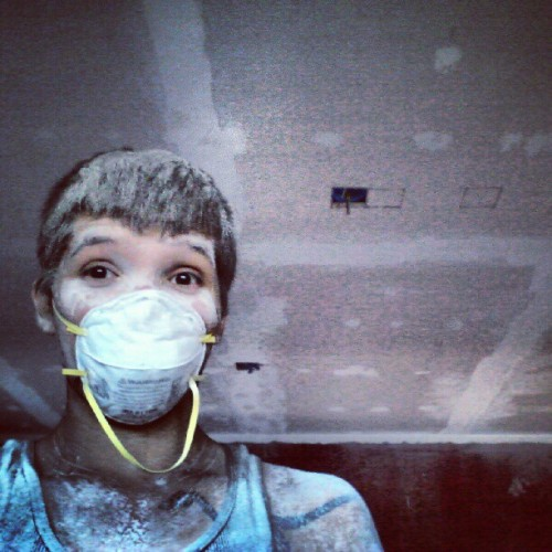 Sanding the new drywall. Dustier than tatooine in here. #construction #solo #dusty  (Taken with Instagram)