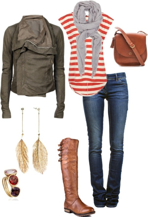 #PinterestFashionFind: Stripes, skinny jeans & one amazing jacket. #fall #fashion Source: http://wesche27.polyvore.com/
